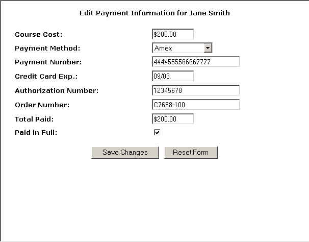 Entering Payment Information for a Student